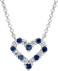 14k White Gold 1.70ct Diamond & Sapphire Heart Pendant