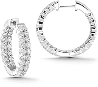 14k White Gold 2.00ct Diamond Hoop Earrings