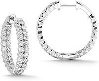 14K White Gold 3.00ct Diamond Hoop Earrings