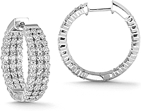 14K White Gold 3.00ct Triple Row Diamond Hoop Earrings