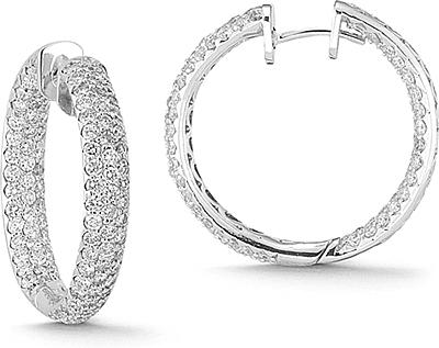 14k White Gold 5 07ct Pave Diamond Hoop Earrings 150 02404