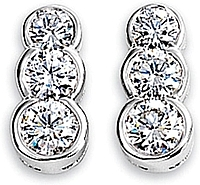 14k White Gold .75ct Three Stone Diamond Earrings
