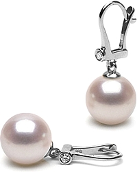 14k White Gold 8.0-8.5mm Akoya Pearl & Diamond Earrings