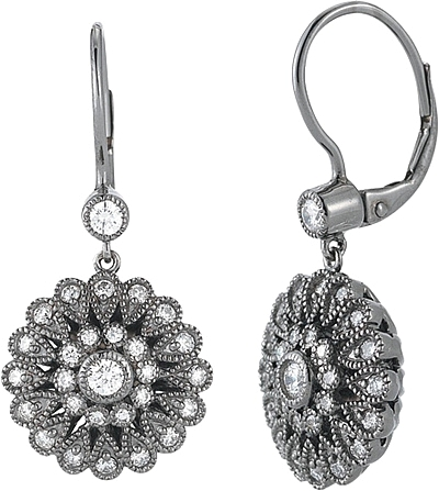 ac7a2218175 14K White Gold Black Rhodium Plated Diamond Earrings- .95ct TW 150-2619