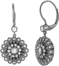 14K White Gold Black Rhodium Plated Diamond Earrings- .95ct TW