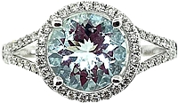 14k White Gold Diamond & Aquamarine Ring