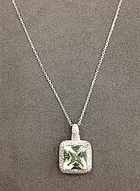 14k White Gold Diamond & Green Stone Necklace
