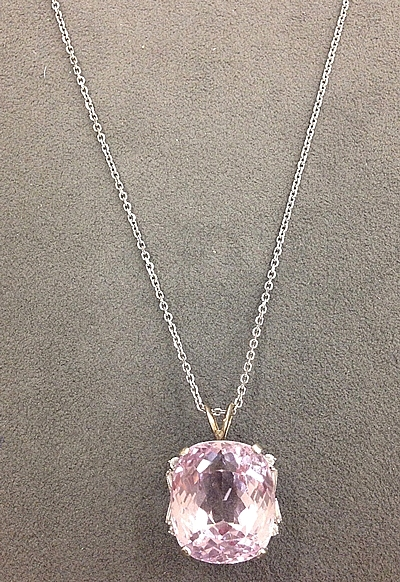 14k white gold diamond kunzite necklace 230 81 view photos mozeypictures Gallery