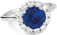 14k White Gold Diamond & Sapphire Diamond Ring- 3.07