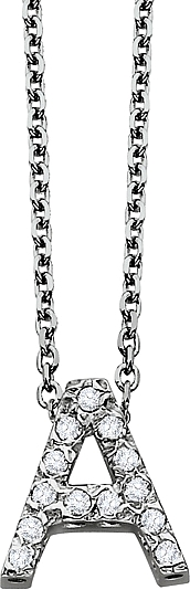 14k White Gold Diamond Block Initial  Pendant