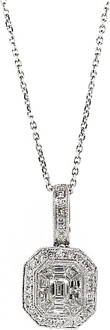 14k White Gold Diamond Cluster Pendant- 1.03ct