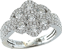 14K White Gold Diamond Flower Ring-1.50cts