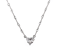 14k White Gold Diamond Heart Pendant- .74ct
