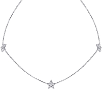14k White Gold Diamond Tripple Star Necklace