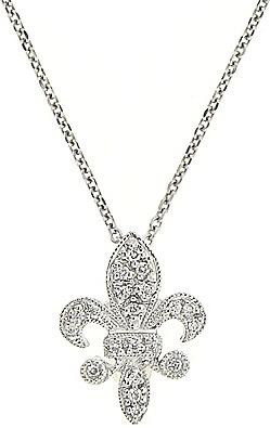 14k white gold fleur de lis diamond pendant kcn8905 aloadofball Choice Image