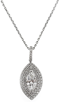 14k White Gold Marquise Diamond Pendant- .95cts