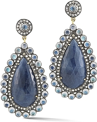 14k White Gold Moonstone, Sapphire & Diamond Earrings
