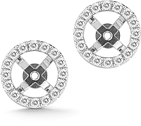 14K White Gold Pave Diamond Earring Jackets - .49ctw
