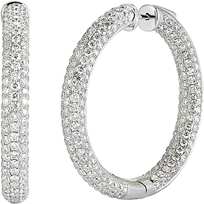 14k White Gold Pave Diamond Hoop Earrings 11 74cts