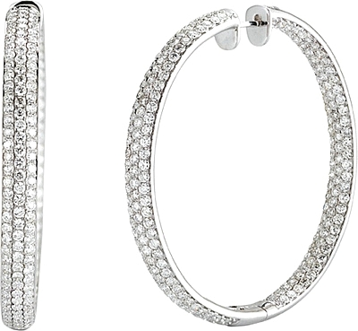 14k White Gold Pave Diamond Hoop Earrings 14 48cts