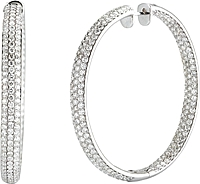 14k White Gold Pave Diamond Hoop Earrings-14.48cts