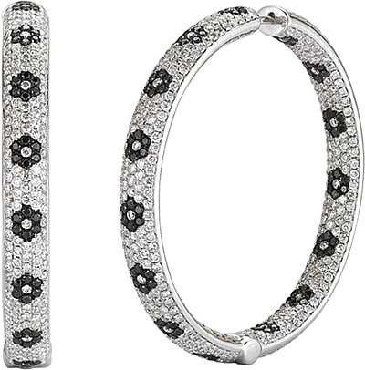 14k White Gold Pave Diamond Hoop Earrings 9 62cts 0 Reviews Write A Review View Photos