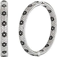 14k White Gold Pave Diamond Hoop Earrings-9.62cts