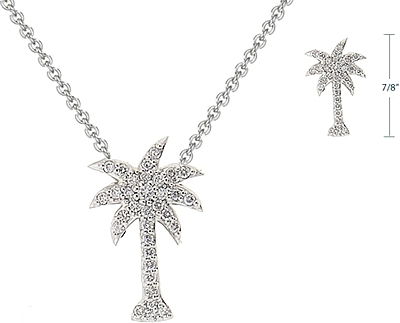 14k white gold pave diamond palm tree pendant kcn6450 aloadofball Images