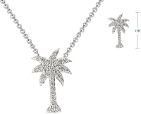 14k White Gold Pave Diamond Palm Tree Pendant