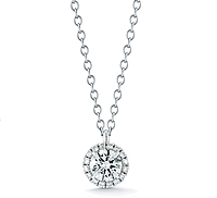 14K White Gold Round Brilliant DIamond Halo Pendant- .50ct tw