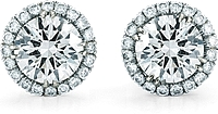 14K White Gold Round Brilliant DIamond Halo Stud Earrings- 1.00ct tw