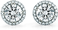 14K White Gold Round Brilliant DIamond Halo Stud Earrings- 1.50ct tw