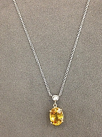 14k White Gold Yellow Sapphire & Diamond Necklace