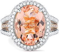 14k White/Rose Gold Diamond & Morganite Ring