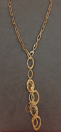 14k Yellow Gold Citrine Lariat-24""