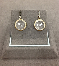 14k Yellow Gold Clear Quartz & Diamond Earrings