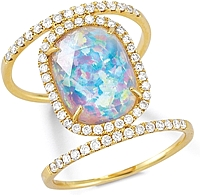 14k Yellow Gold Diamond & Opal Ring