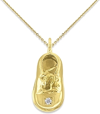 14k Yellow Gold Diamond Baby Shoe Pendant