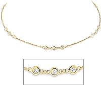 14K Yellow Gold Triple Station Necklace