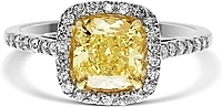 1.51ct Cushion Cut GIA Fancy Intense Yellow Diamond Engagement Ring