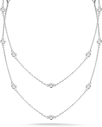 1.70ct 18k White Gold Diamonds By The Yard Necklace