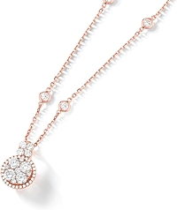 18k Rose Gold Diamond Cluster Necklace- 1.97tcw
