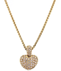 18k Rose Gold Diamond Puffed Heart Necklace