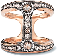 18k Rose Gold Rose Cut Diamond Ring-.89tcw