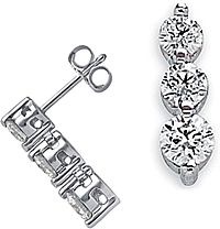 18k White Gold 1.00ct Three Stone Diamond Earrings