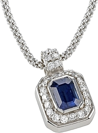 18k White Gold 1.34ct Diamond and Sapphire Pendant