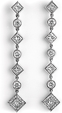 18k White Gold 1.78ct Diamond Drop Earrings
