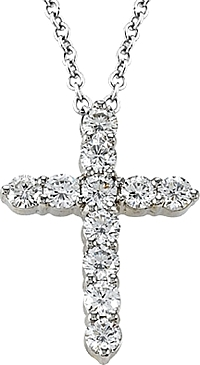 18k White Gold 1.80ct Diamond Cross