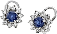 18k White Gold 2.05ct Diamond & Sapphire Earrings