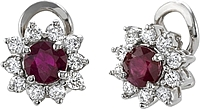 18k White Gold 2.20ct Diamond & Ruby Earrings
